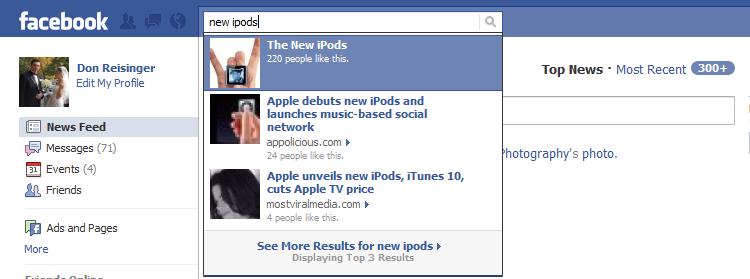 """Facebook's search results featuring """"liked"""" articles."""