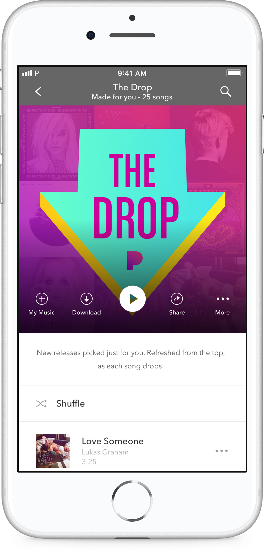 A screenshot of Pandora on an iPhone shows the interface for The Drop playlist.