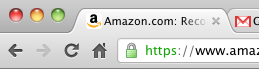 The lock icon in the address bar means your connection is secure.