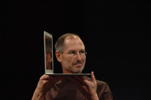 Steve Jobs showing off the first MacBook Air in 2008.