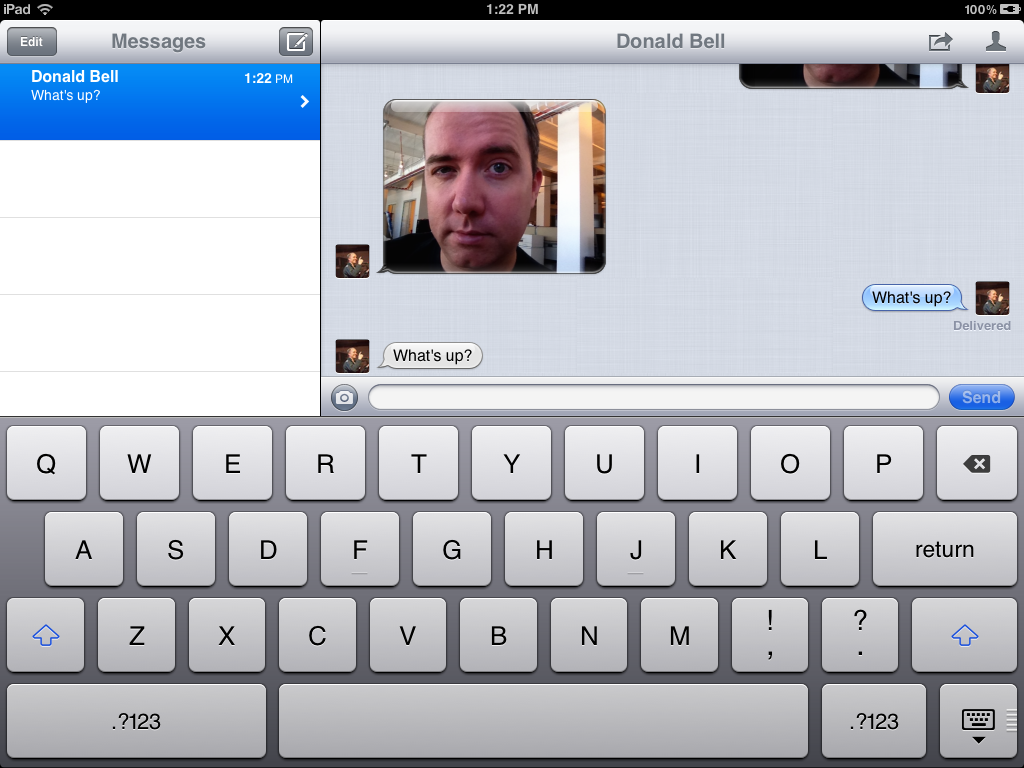 Messages on the iPad