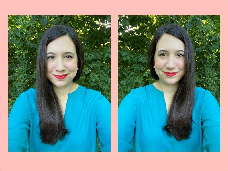 <p>Selfie in default mode (left) vs. selfie with Mirror Camera turned on (right).&nbsp;</p>