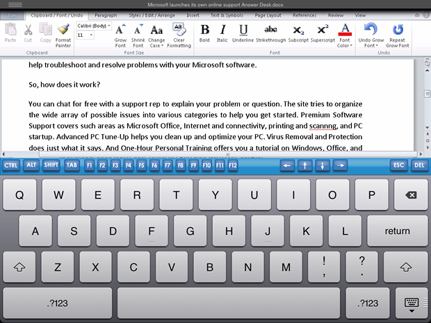 The free CloudOn app lets you create and edit MS Office documents on your iPad.