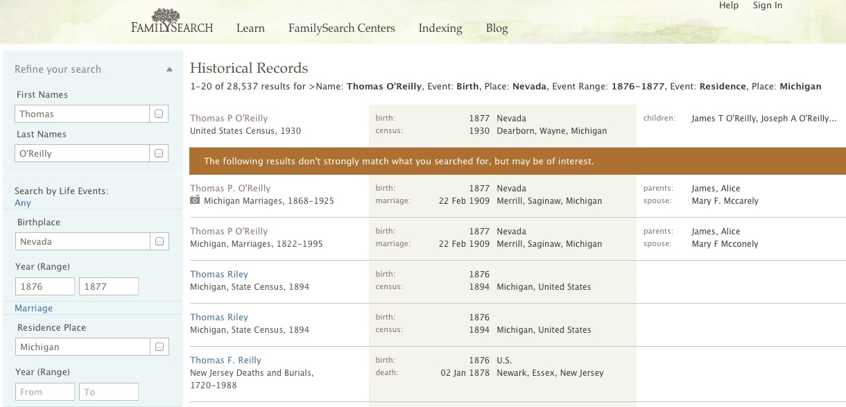FamilySearch.org search results page