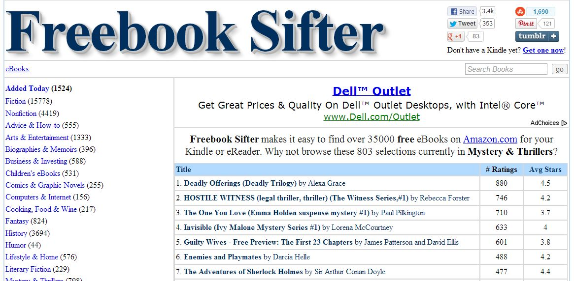 Freebook Sifter catalogs tens of thousands of Kindle freebies.