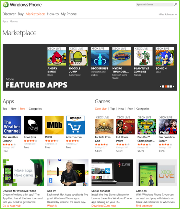 The new Windows Phone 7 online Marketplace