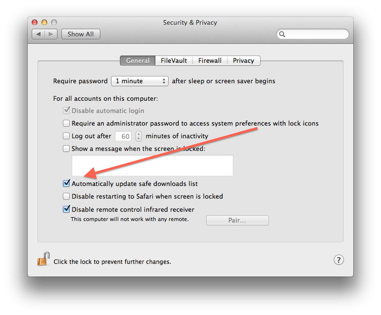 XProtect settings in the system preferences