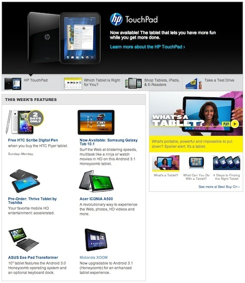 Best Buy's online home page for tablets. Mirroring its physical stores, Best Buy is now emphasizing tablet brands beyond the iPad.