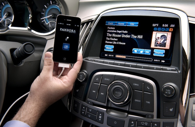 MyLink and IntelliLink use smartphones to integrate internet music apps with the infotainment unit.