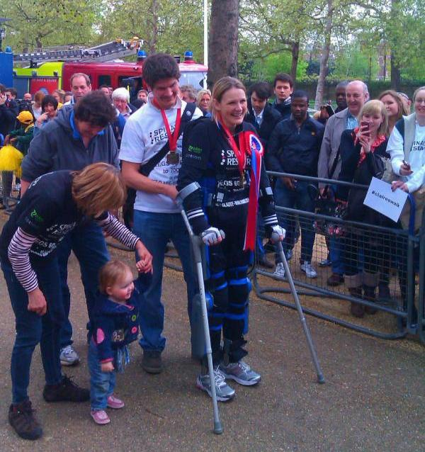 Claire Lomas at finish line