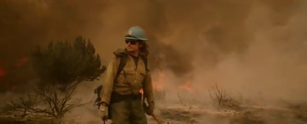 A Carson Hotshot fighting the Slater Fire