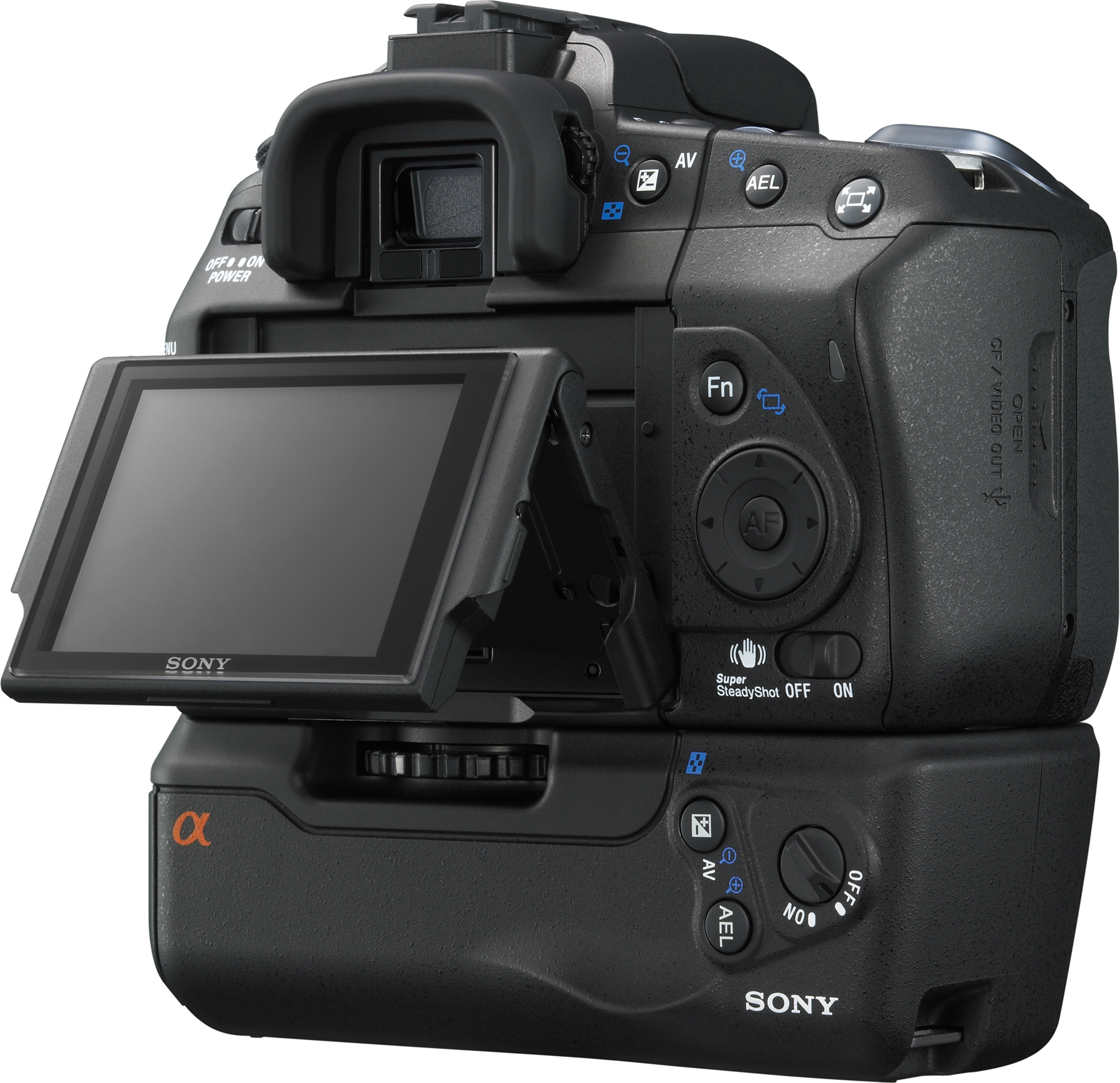 Sony Alpha DSLR-A350 with optional battery grip