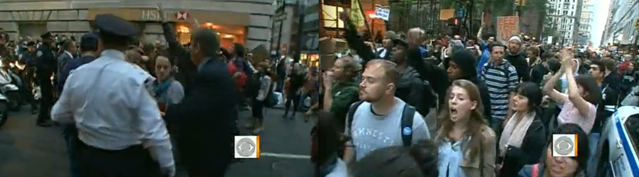 Occupy Wall Street activists clash with police.