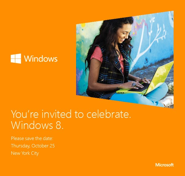 Microsoft is holding its Windows 8 event on October 25.