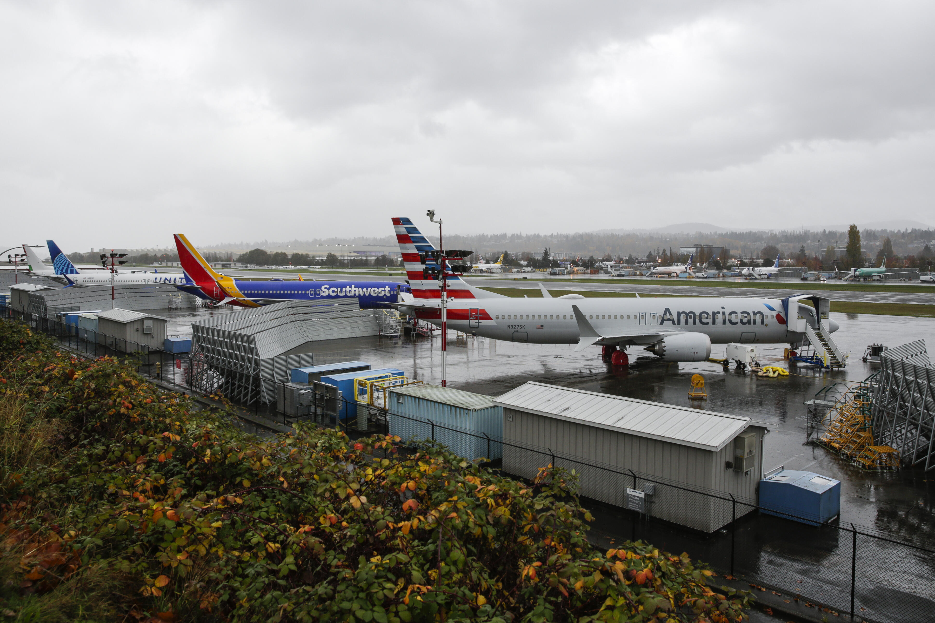 737 Max aircraft painted in American, Southwest and United liveries