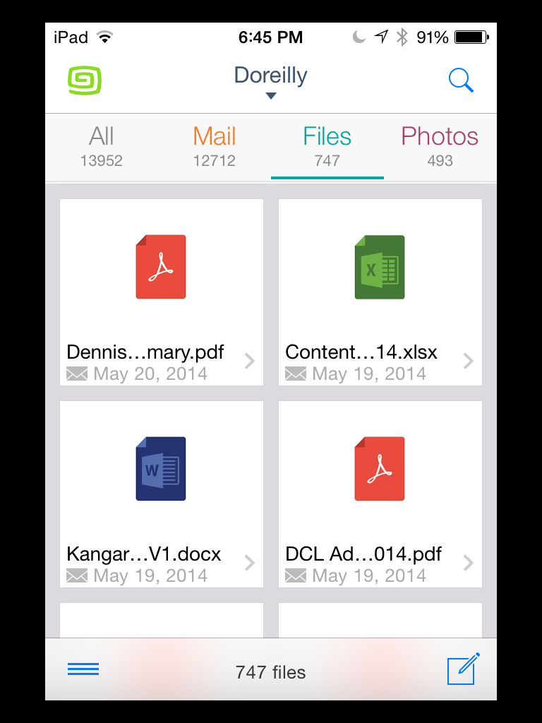 Gusto email app's file view