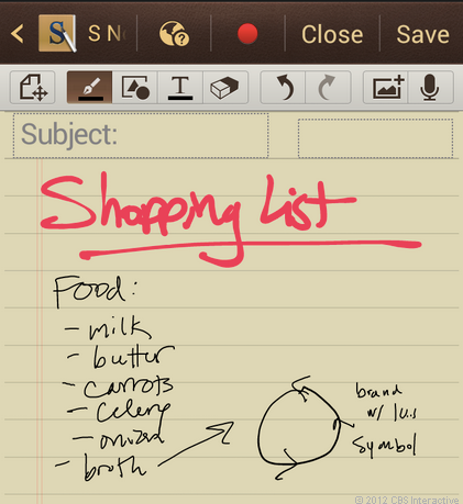 S Note in Samsung Galaxy Note 2