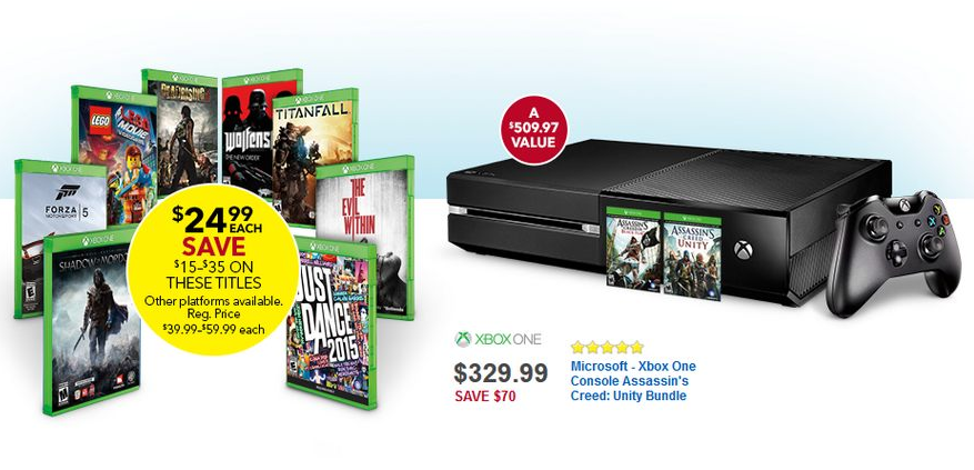 Xbox One + Assassin's Creed: Unity and Assassin's Creed IV: Black Flag -- $329.99 (GameStop, Toys R Us, Best Buy, Microsoft)