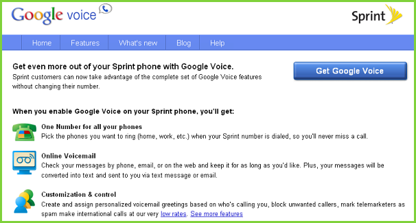 Google Voice and Sprint integration is available now.