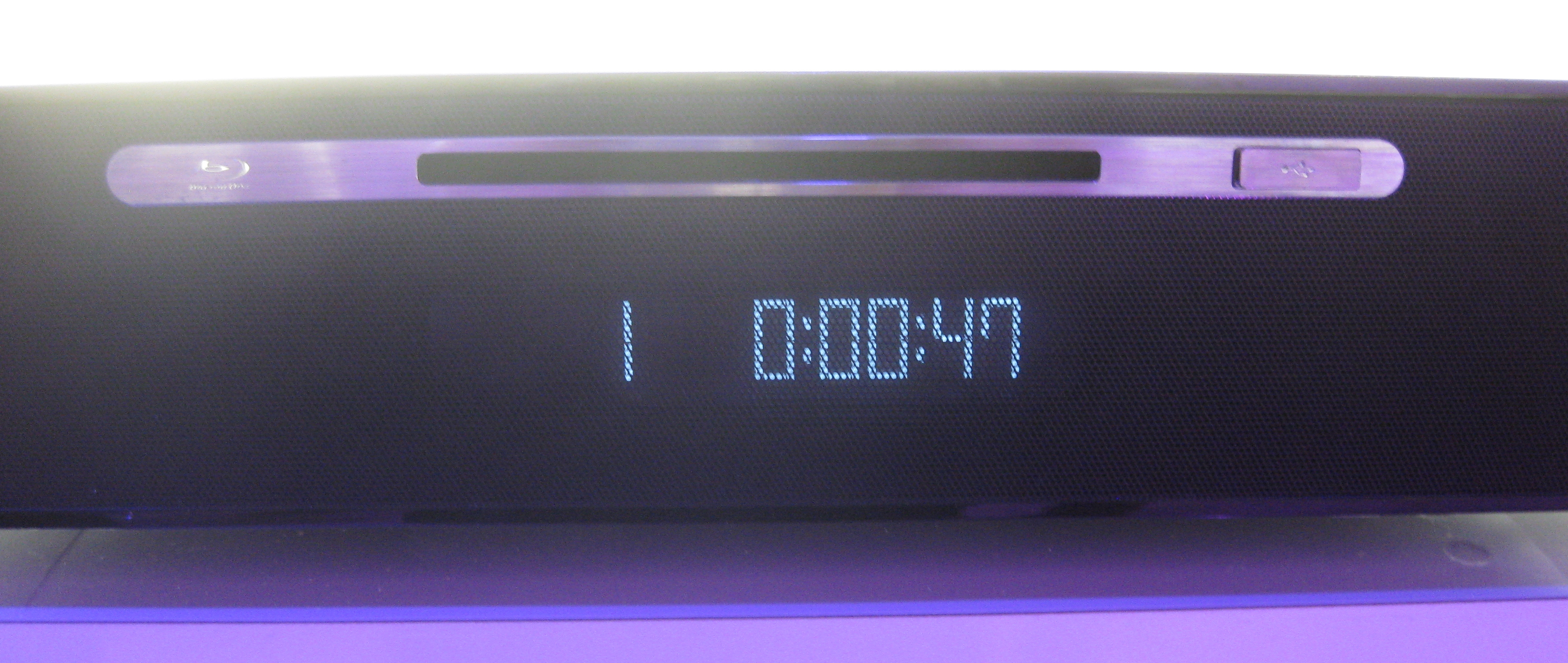 The LLB915's slot-loading built-in Blu-ray player.