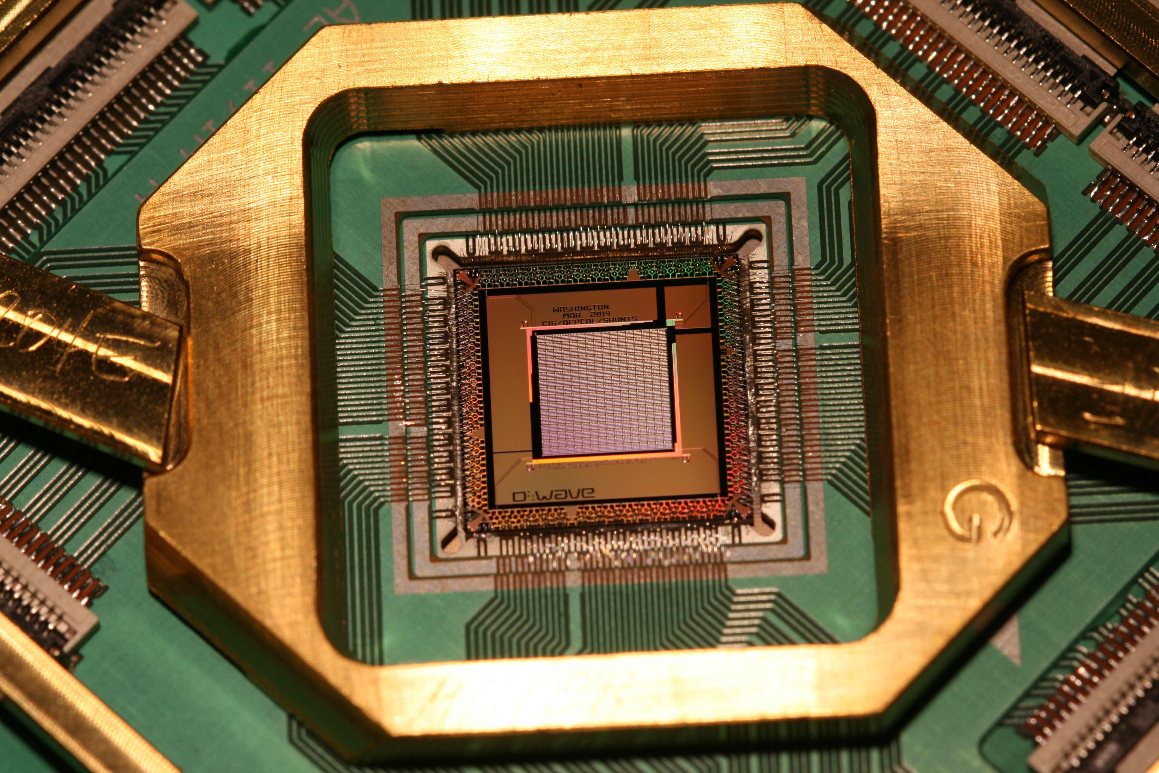 Startup D-Wave is trying to bring quantum computing out of the research lab. This is one of its chips.
