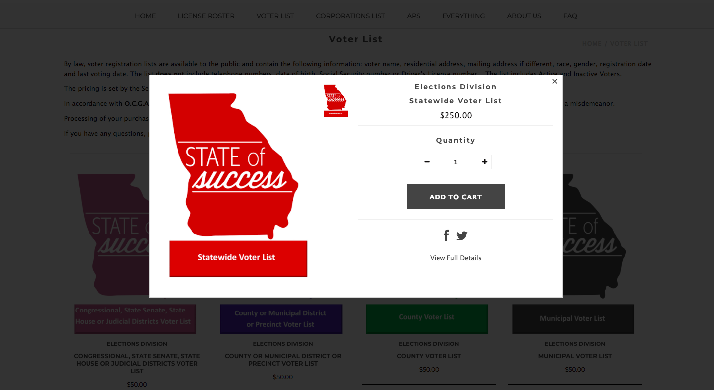 Graphic showing an outline of Georgia and information about purchasing that state's voter list.