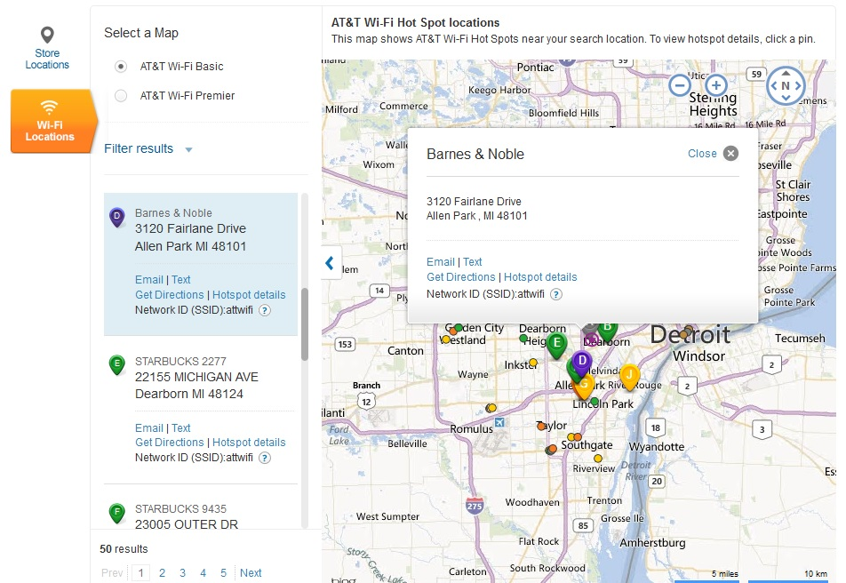 AT&T Wi-Fi Locator hot spot map and listings