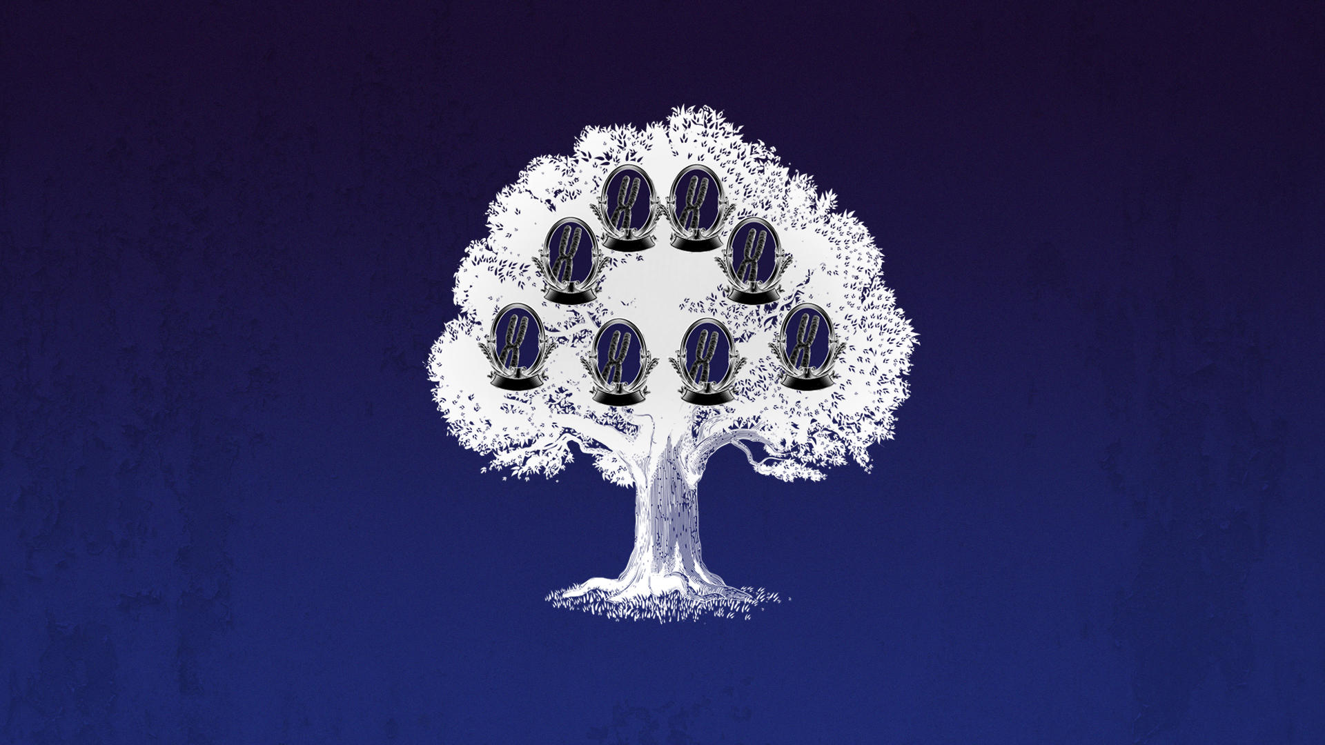 A family tree with a chromosome in each family member's place.