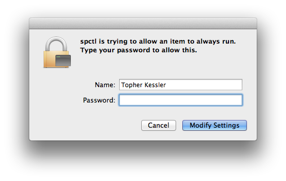 Gatekeeper authentication dialog box