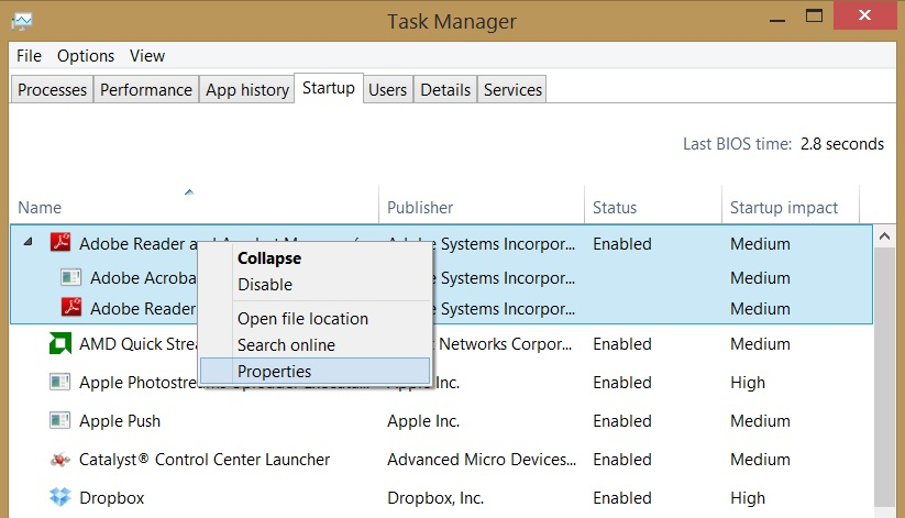 Windows 8.1 Task Manager right-click options on the Startup tab
