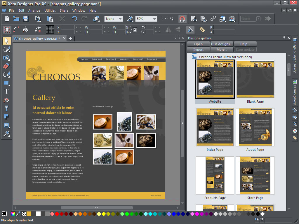 Xara Design Pro X9's Web design tool comes with a variety of pre-made Web site templates.