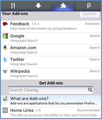 Firefox for Android, the awesome screen