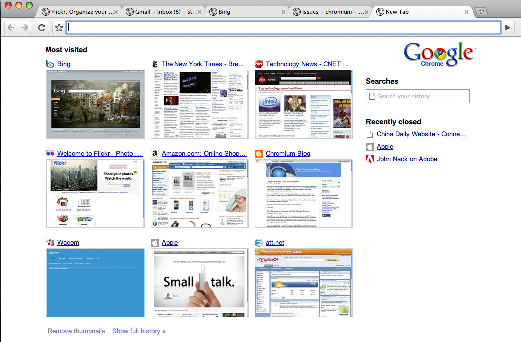 Chrome for Mac OS X sports the same new-tab interface as the Windows version. (Click to enlarge.)