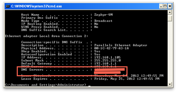 Windows command line showing DNS servers