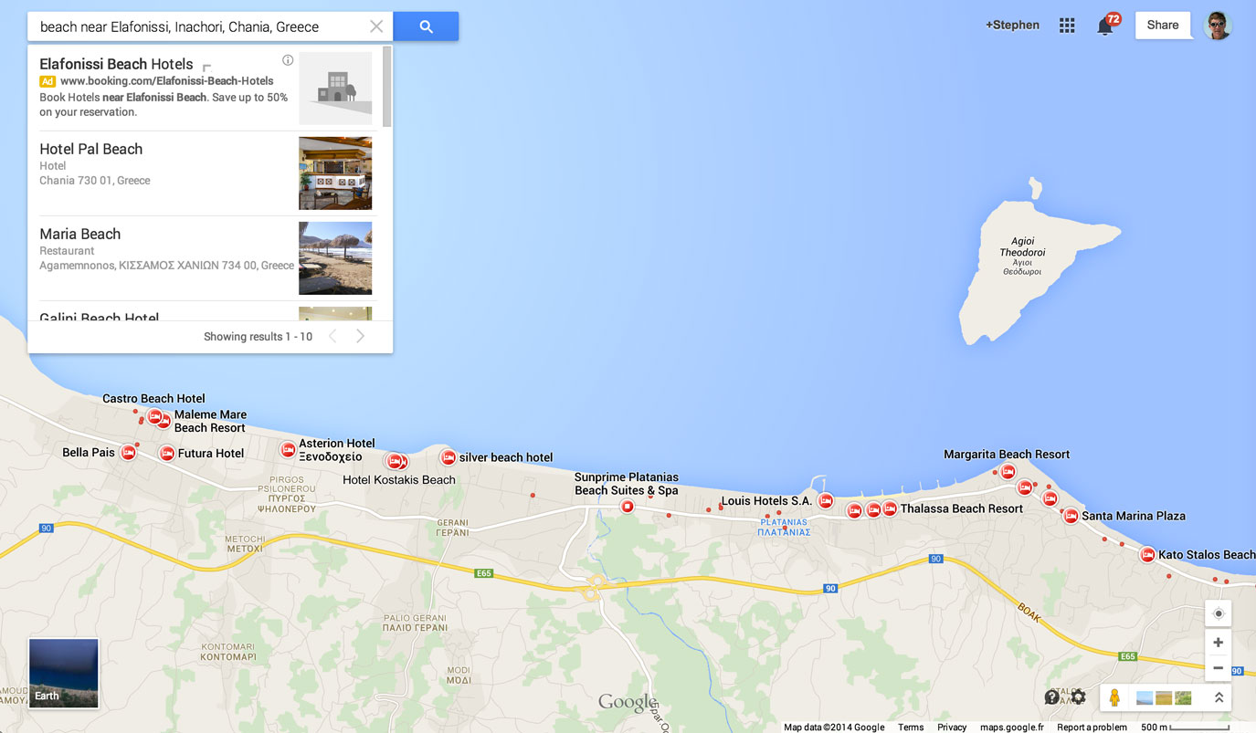 Google Maps shows plenty of hotels in Crete along the Mediterranean coastline -- and ads for tourists who might want to book a room.
