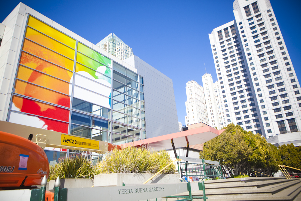 The outside of the Yerba Buena Center for the Arts, where Apple is expected to unveil the iPad 3 next Wednesday.
