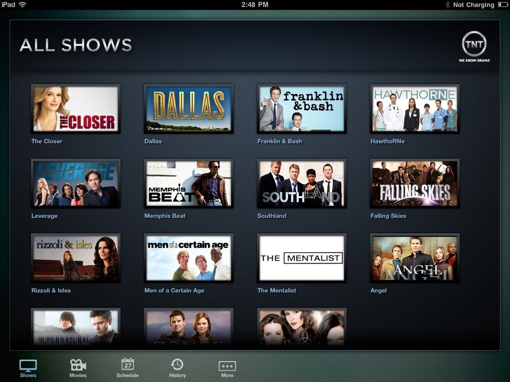 TNT for iPad makes most of the network's original shows available for streaming.