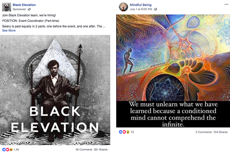 Samples of the content Facebook removed from the platform.