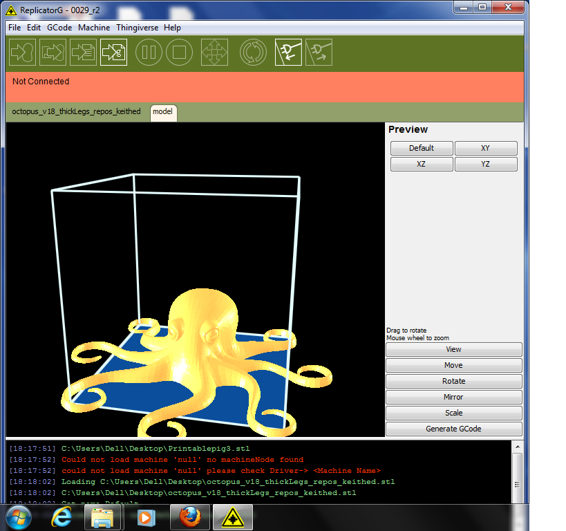 We used ReplicatorG to scale the octopus design for our Mosaic printer's build platform.