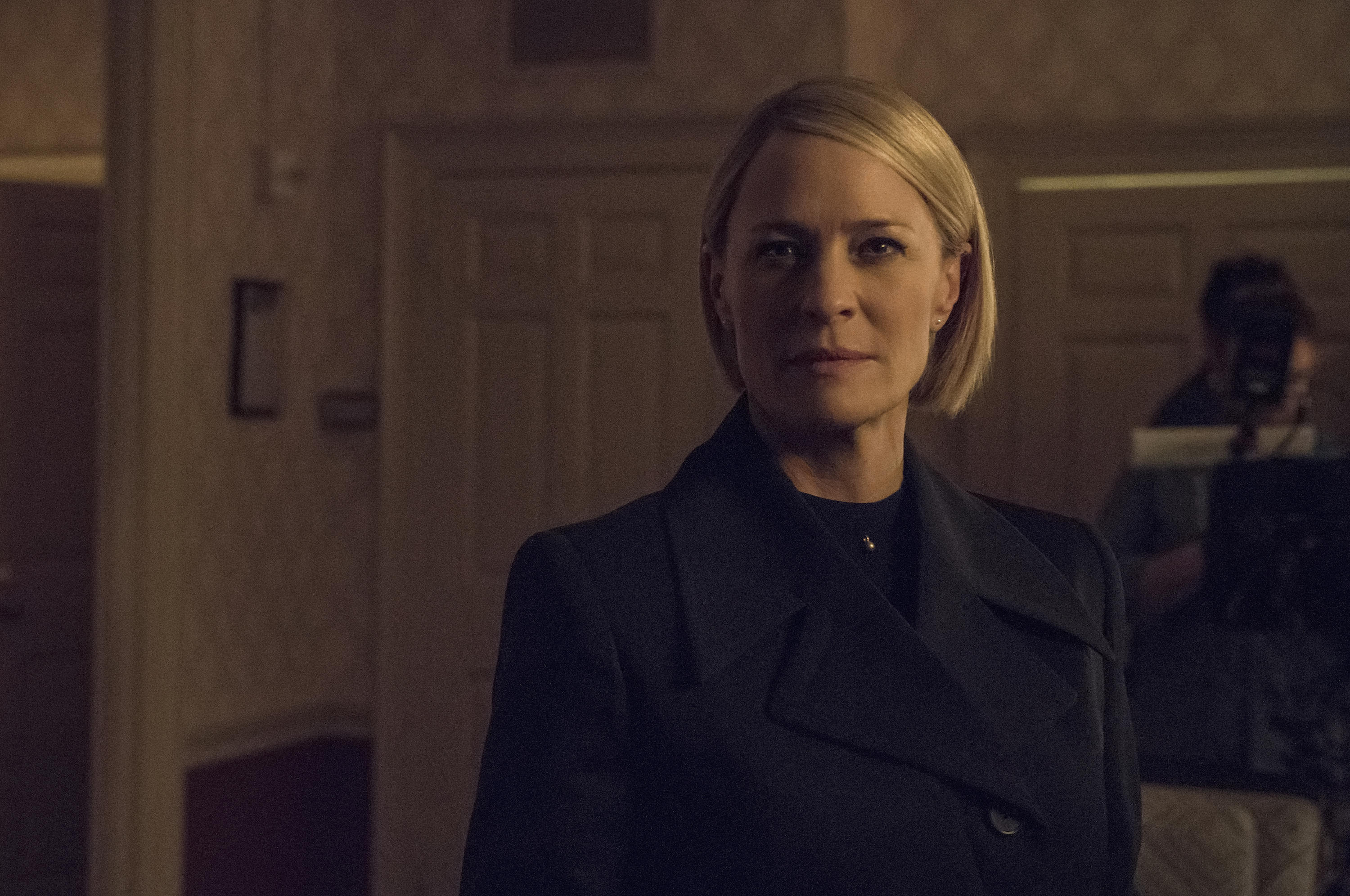 Robin Wright as Claire Underwood looks steely-eyed into the camera.