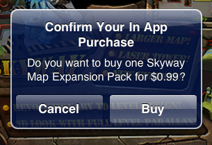 The in-app purchase option within an iOS app, an inclusion that could cost developers an extra licensing fee.
