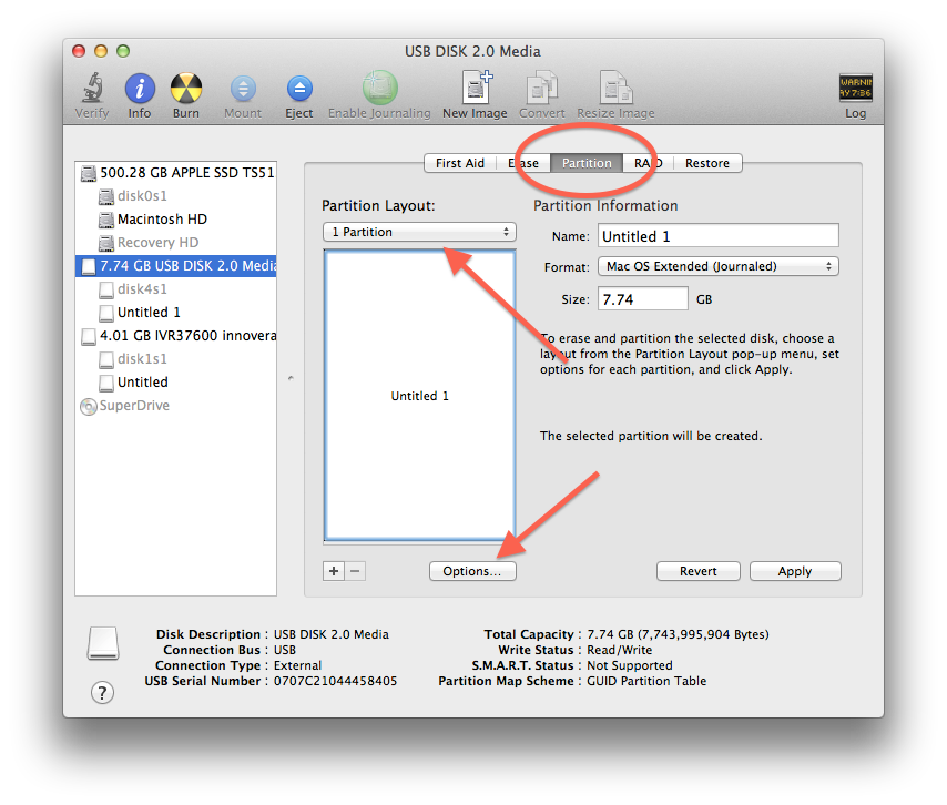 Partitioning drives in Disk Utility