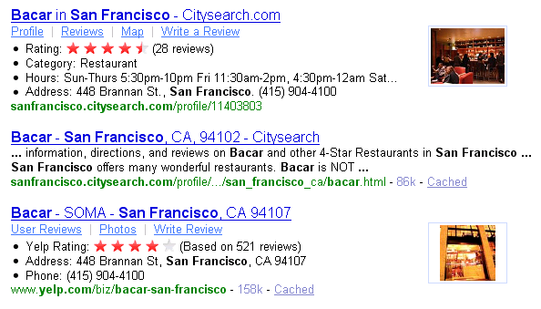 A Yahoo search for 'Bacar San Francisco' shows Citysearch and Yelp results spruced up via Yahoo's SearchMonkey technology.