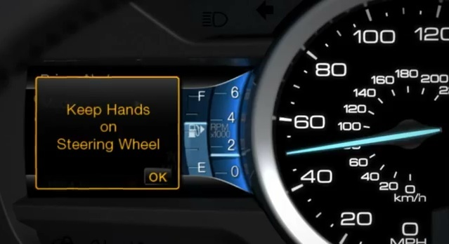 The Lane Keeping Aid issues a warning when it detects the driver's hands are not on the wheel.