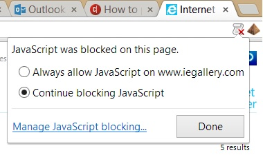 Google Chrome block/allow JavaScripts button