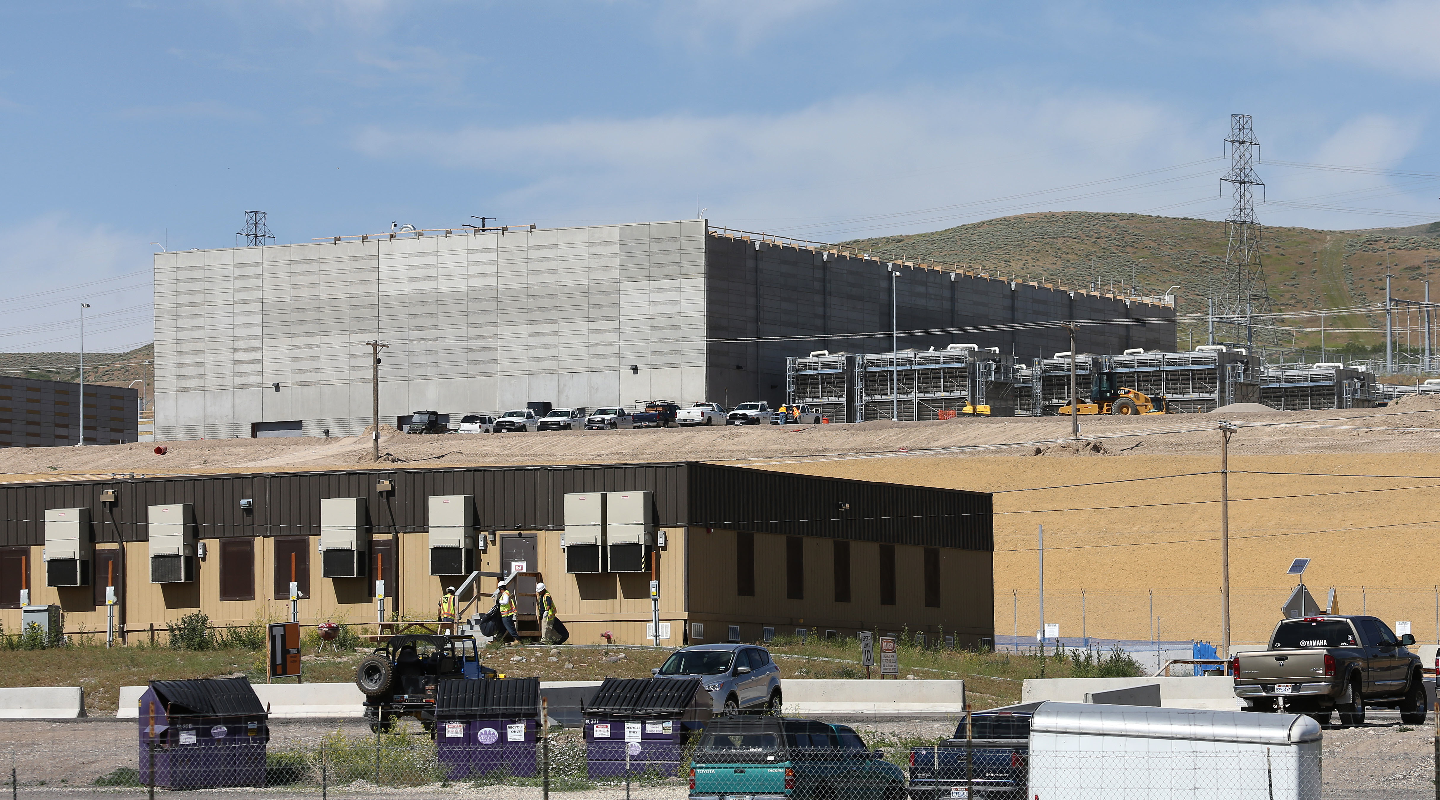 Construction trailers in front of the new National Security Agency's data center being built in Bluffdale, Utah. It will be the agency's largest data center, and is scheduled to become operational this fall.
