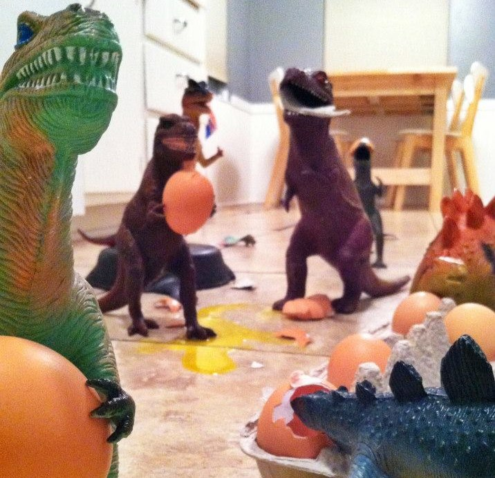 Dinosaurs get into eggs