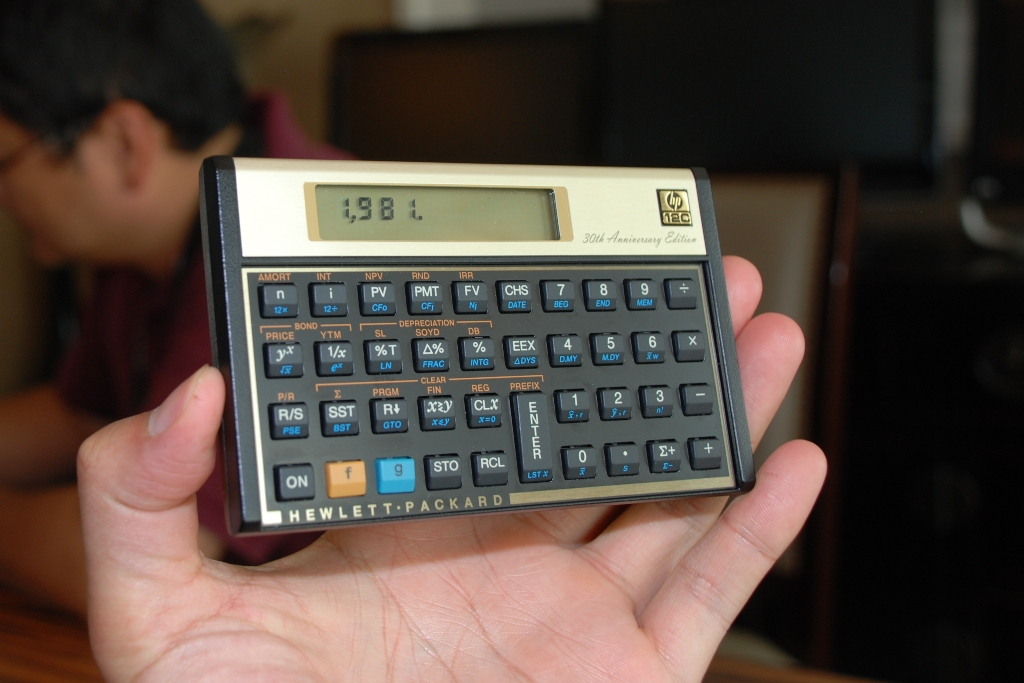 The 30th anniversary edition of the HP 12c calculator.