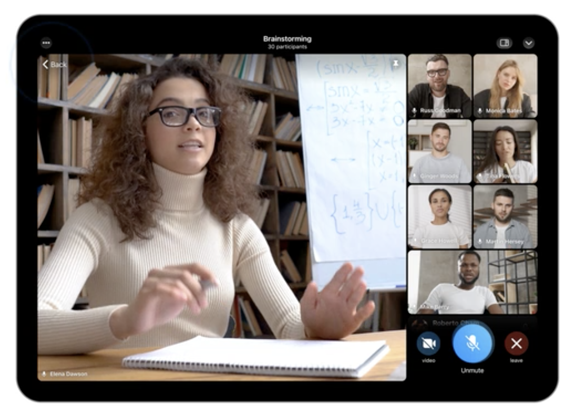 A group video call Telegram-style, on a tablet.