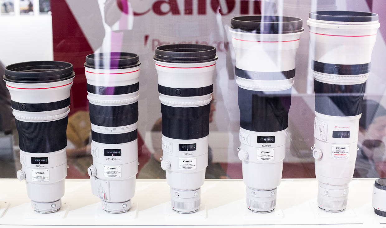 The wide-aperture supertelephoto lineup from Canon includes a 400mm f2.8 lens, the forthcoming 200-400mm f4 lens, the 500mm f4 lens, the 600mm f4 lens, and the 800mm f5.6 lens.